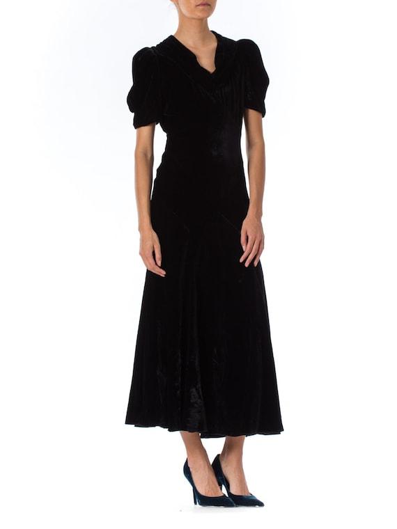 black embroidered with beads silk UNIQUE SILK-VELVET Dress smok velvet Art Nouveau long