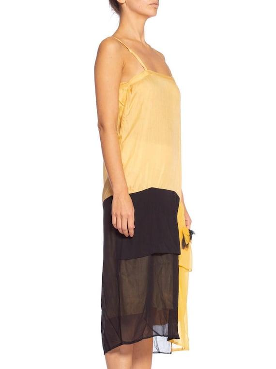 1920's Yellow & Black Silk Chiffon Dress - image 3