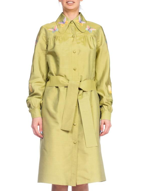 1970S Green Silk Hand Embroidered Shirt Dress