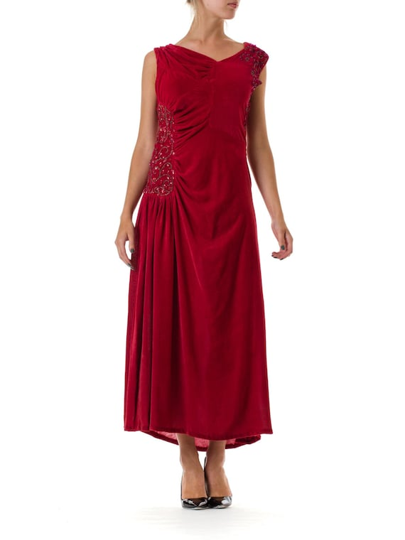 1930S Magenta Silk Velvet Asymmetrically Draped &
