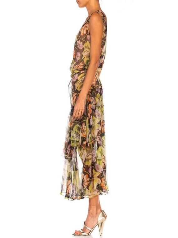 1930S Floral Silk Chiffon Dress - image 2