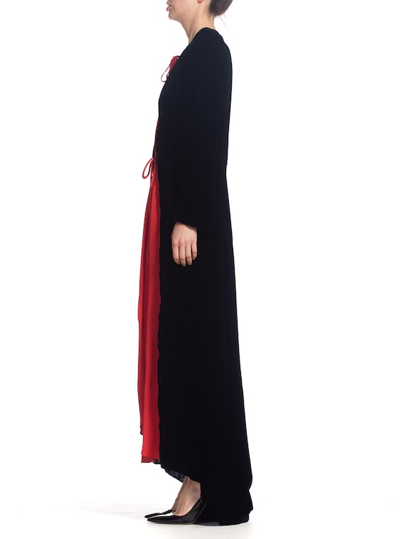 1930S Black Silk Velvet  & Red Crepe Dressing Gow… - image 2