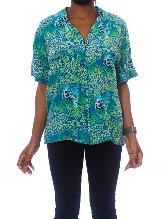 1990S Teal Silk Crepe De Chine Tiger Print Shirt