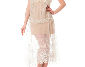1920s Sheer White Lace Sleeveless Bridal Dress
