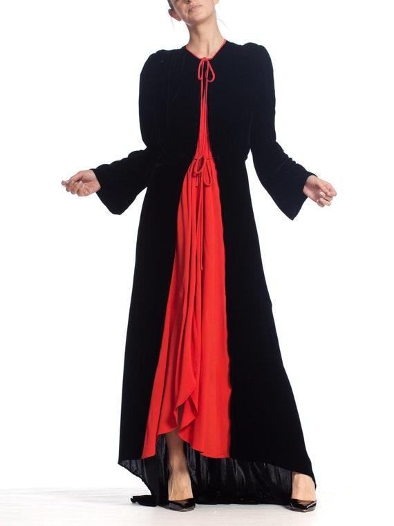 1930S Black Silk Velvet  & Red Crepe Dressing Gow… - image 6