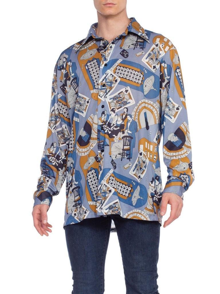 1970s Men's Shirt Styles – Vintage 70s Shirts for Guys 1970s Polyester Mens Victorian Gambler Poker Print Disco Shirt Rare Xl $288.00 AT vintagedancer.com