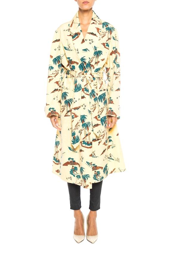Conversational Tropical Print Robe Size: Free