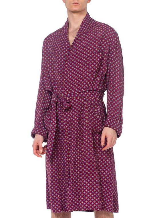 1940s Mens Robe With Square Print