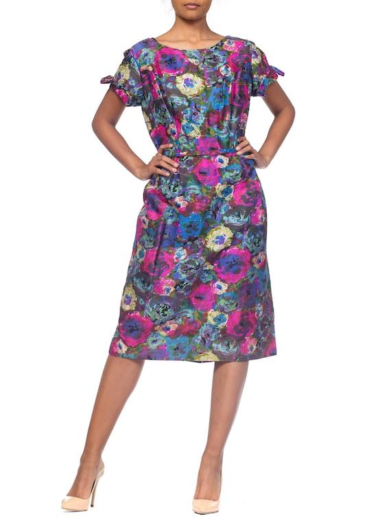 1950S  Pink & Blue Silk Larger Size Floral Cap Sle