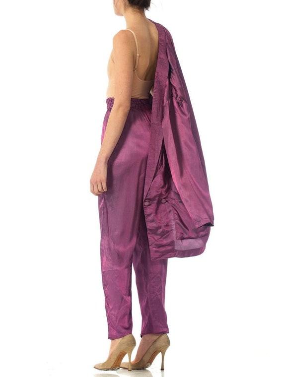 1980S Purple Acetate Taffeta Oversized Blazer Pan… - image 6
