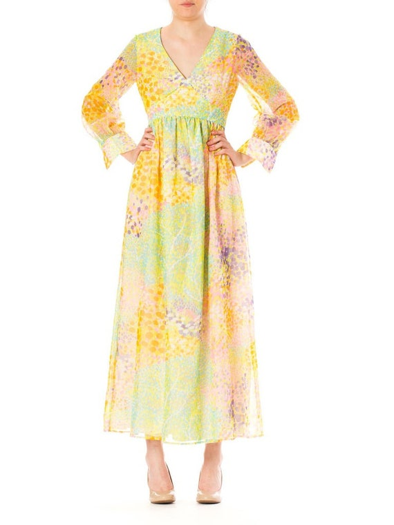 1970S Multicolor Psychedelic Polyester Chiffon Ma… - image 4