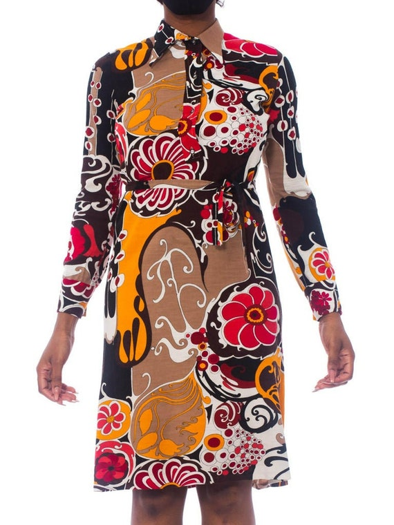 1970S Pyschedelic Floral Wool Jersey Dress With Ra