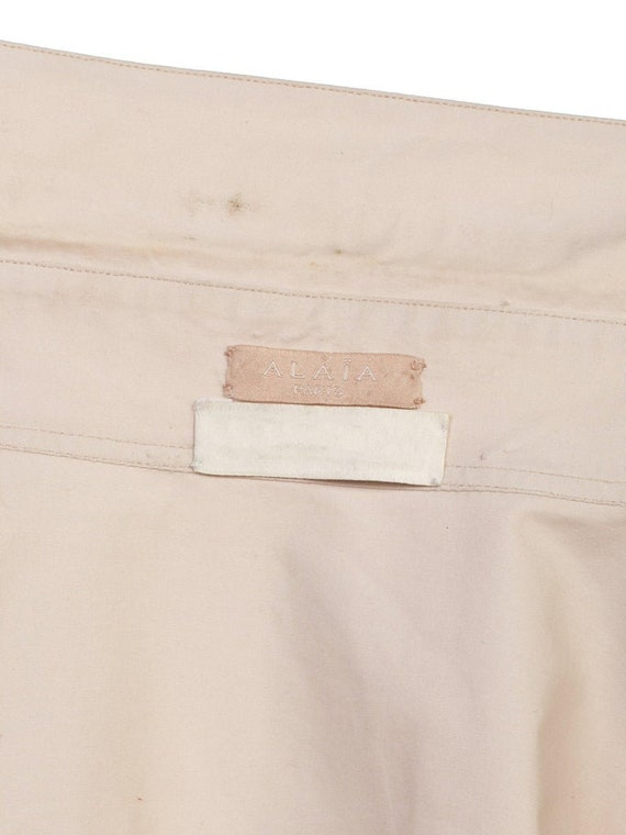 1990S AZZEDINE ALAIA Ecru Cotton Shirt Dress - image 10