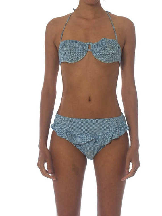 1940S Cotton Underwire Blue Gingham Pin-Up Bikini