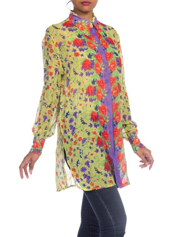 1990s-sheer Chiffon Gianni Versace Floral Boho Bl… - image 5