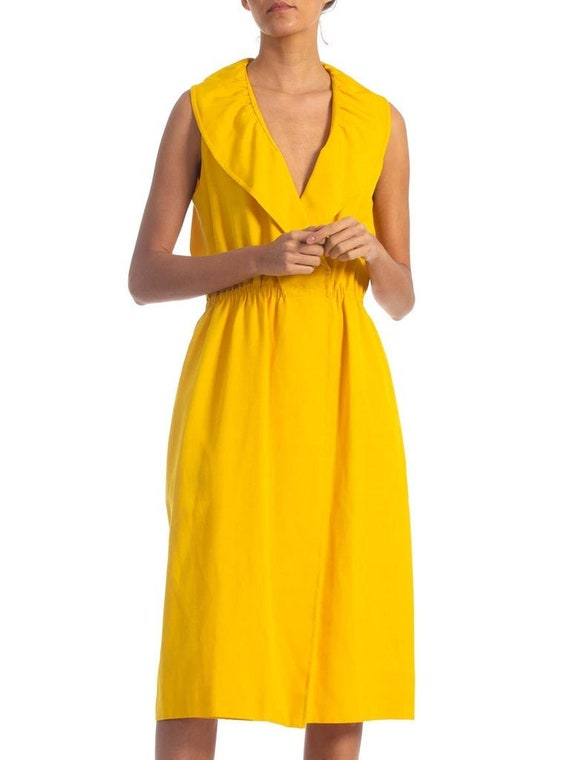 1970S HALSTON Yellow Rayon & Silk Wrap Dress With