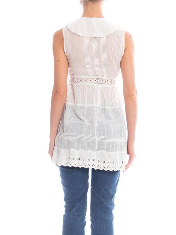 Edwardian White Cotton Eyelet Lace Babydoll Tunic… - image 4