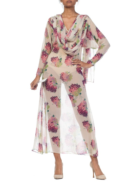 Sheer-silk 1920s Floral Chiffon Dress Size: S - image 9