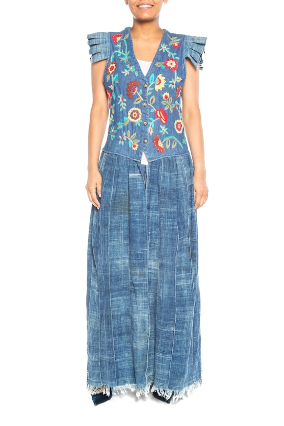 MORPHEW COLLECTION Floral Embroidered Cotton Denim