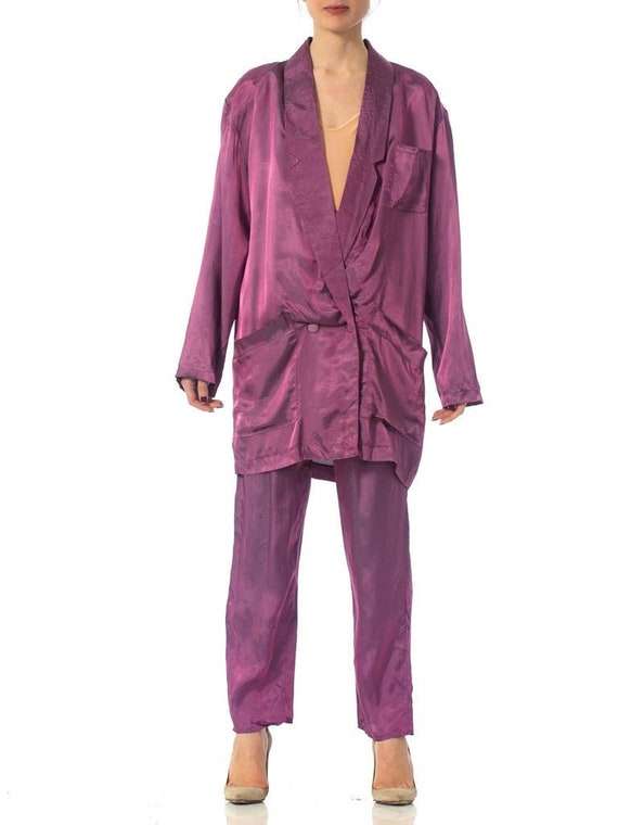 1980S Purple Acetate Taffeta Oversized Blazer Pant