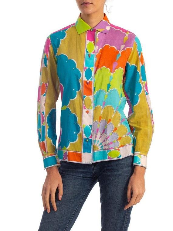 1960'S EMILIO PUCCI Multicolor Cotton Voile Psyche