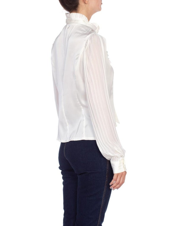 1970'S White Polyester Sateen Ruffled Bow Neck Bl… - image 3