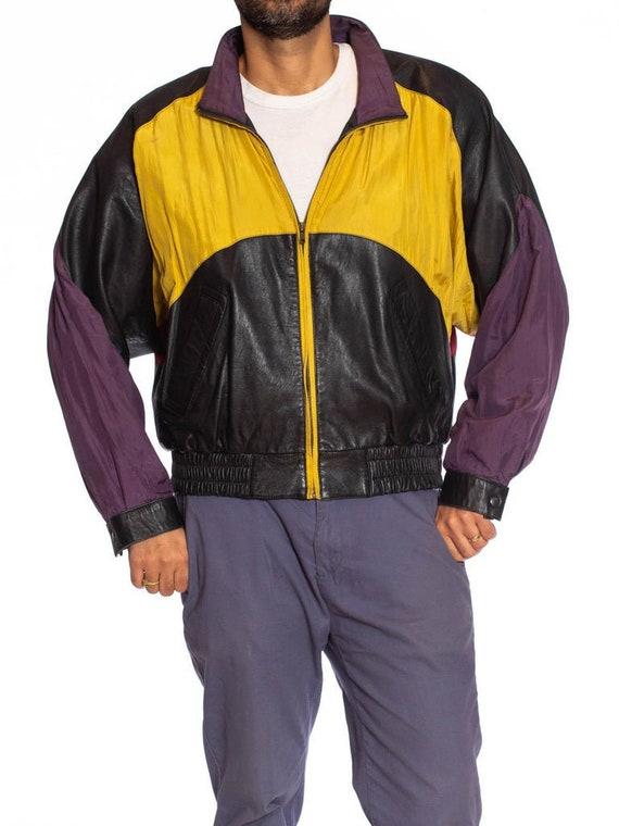 1990S Black Leather Men's Bomber Jacket With Yello