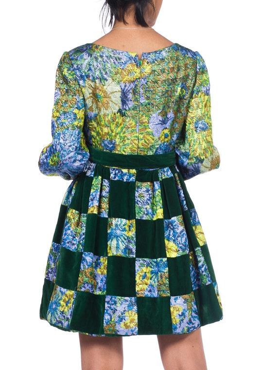 1960S MALCOLM STARR Blue & Green Rayon/Lurex Velv… - image 8