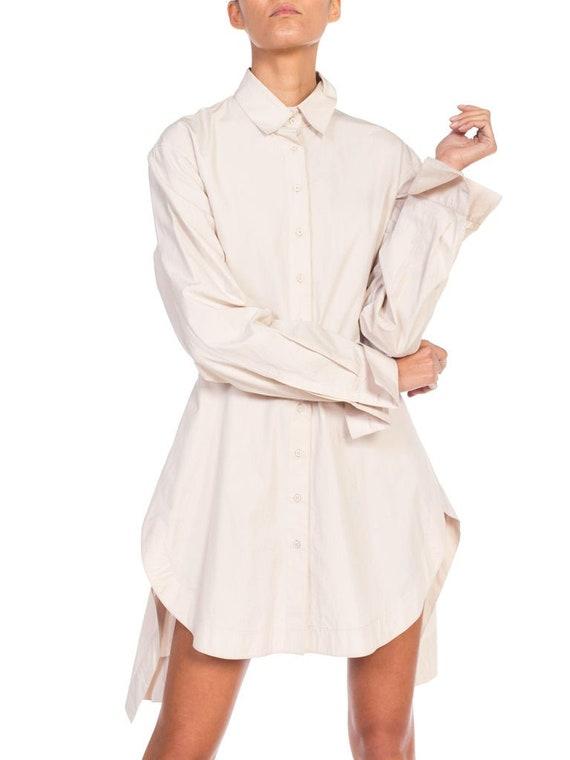 1990S AZZEDINE ALAIA Ecru Cotton Shirt Dress - image 8
