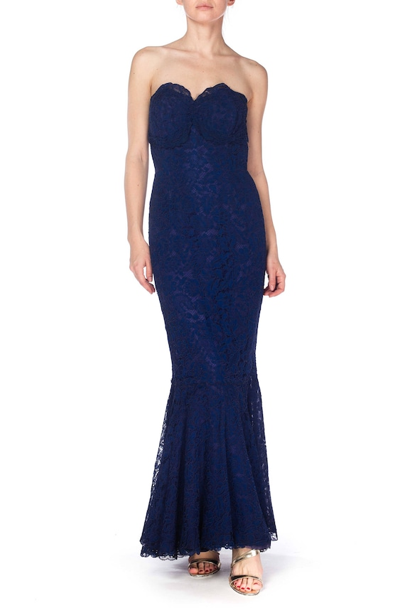 1950S Navy Blue Silk & Lace Strapless Gown With Tr