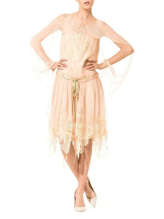 1920S Blush Pink Silk Mousseline  & Ivory Chantil… - image 4