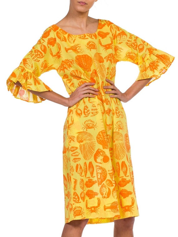 1970S Yellow & Orange Cotton Blend Bright Seaside… - image 3