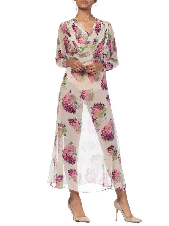 Sheer-silk 1920s Floral Chiffon Dress Size: S