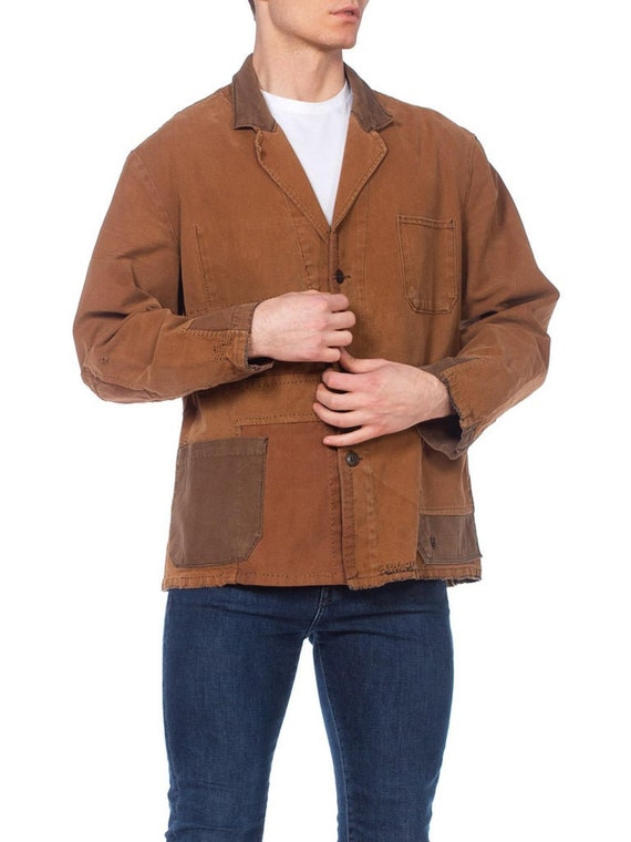 1940S Brown Patchwork Cotton Men's French Workwea… - image 6