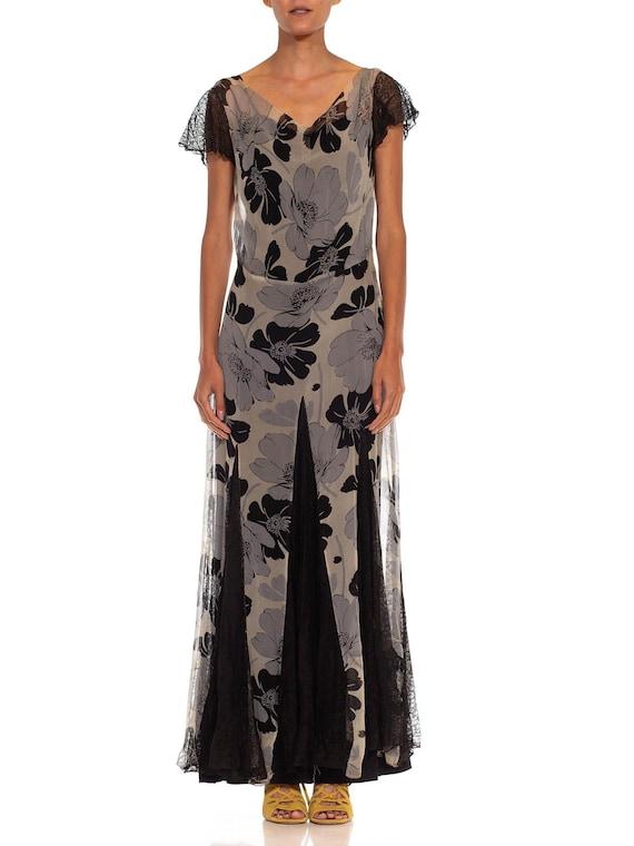 1930S Grey  Black Silk Chiffon Floral Dress
