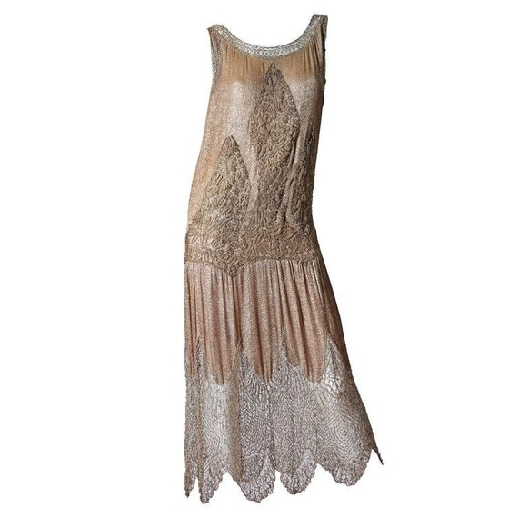 1920S Champagne Silk Lamé Cocktail Dress With Bead
