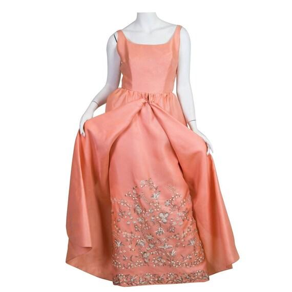 1960S LANVIN Salmon Pink Haute Couture Silk Gown W
