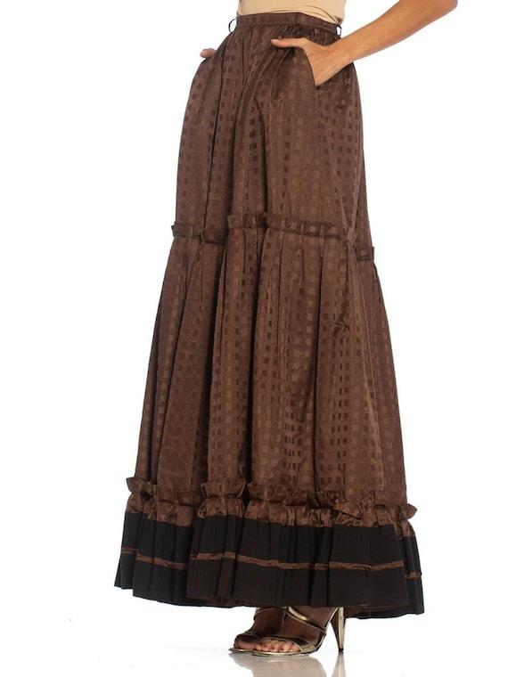 1970S Lanvin Brown Haute Couture Silk Full Pleate… - image 4