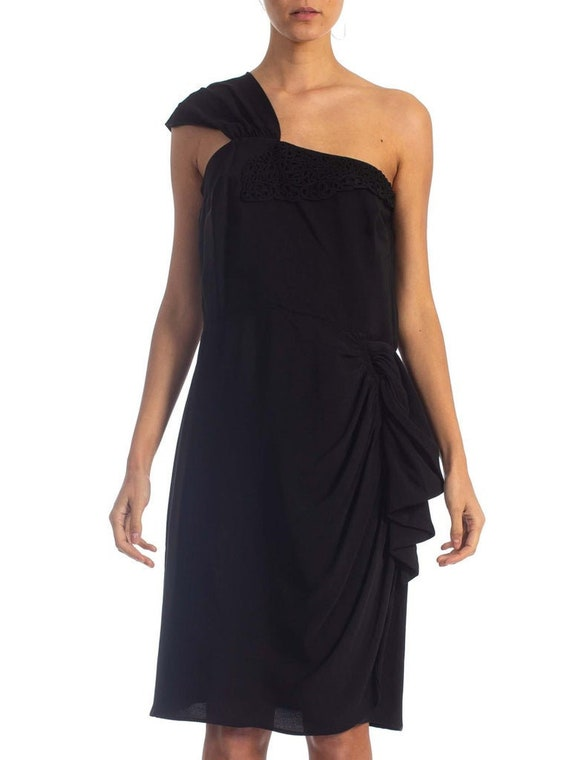 1940'S Black Rayon Crepe One Shoulder Draped Peplu