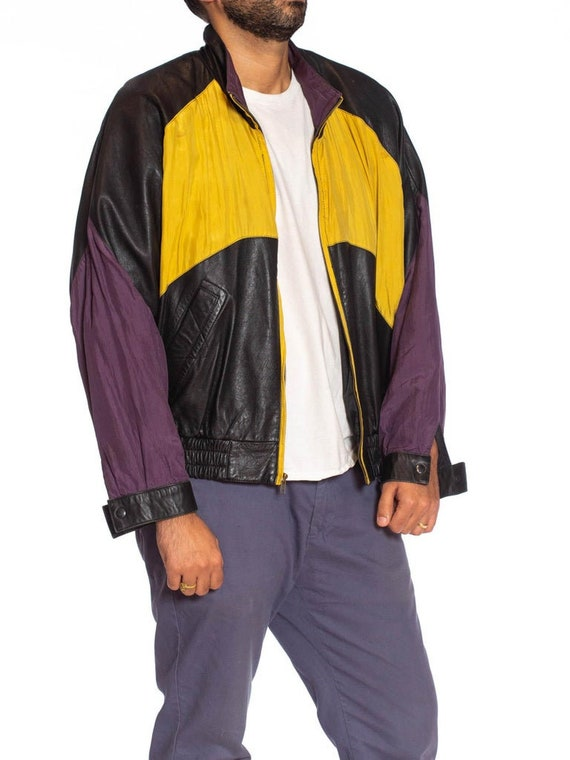 1990S Black Leather Men's Bomber Jacket With Yell… - image 7