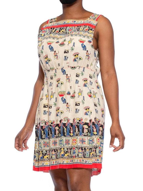 1940S Cotton Egyptian Novelty Printed Dress