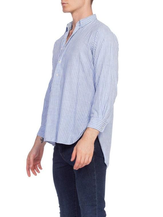1930S Blue Linen Men's Striped Popover Shirt - image 5