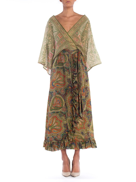 MORPHEW COLLECTION Silk & Cotton Indian Paisley W… - image 1