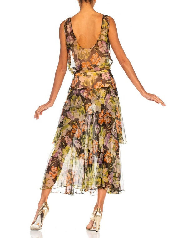 1930S Floral Silk Chiffon Dress - image 8