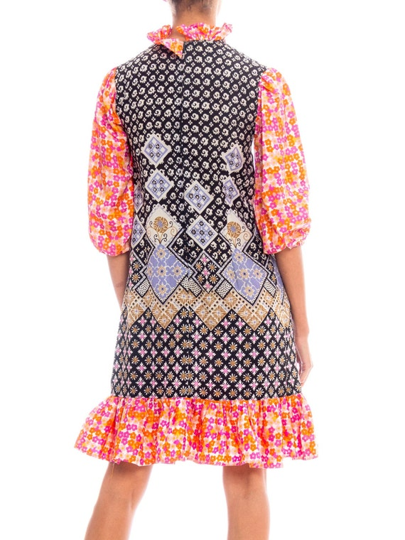 1960S Multicolor Patchwork Boho Printed Polyester… - image 4