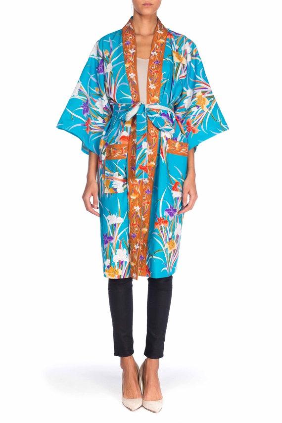 Tropical Print Polyester Kimono Size: XL