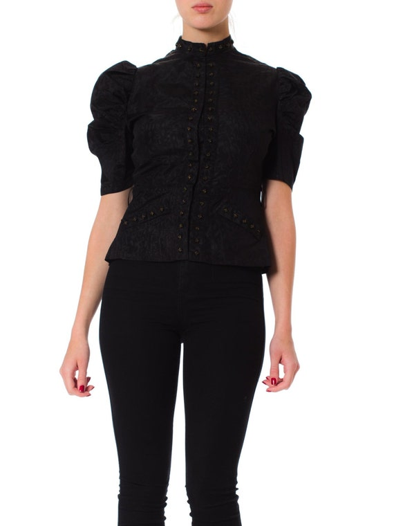 1930S Black Silk Moire Puff Sleeve Top With Studde