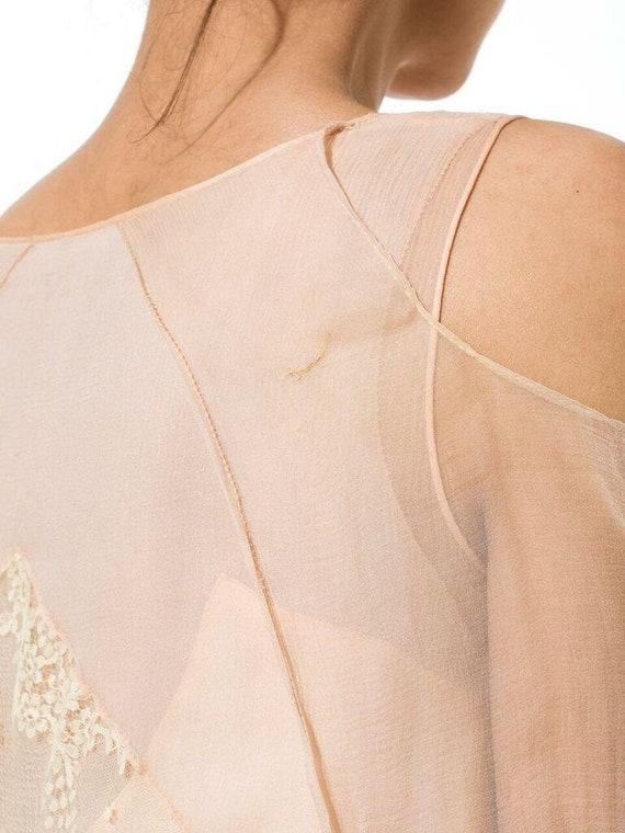 1920S Blush Pink Silk Mousseline  & Ivory Chantil… - image 9