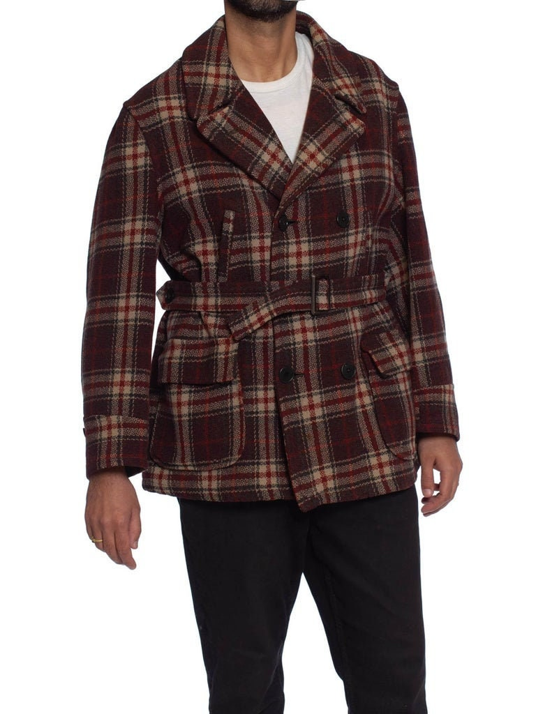 New 1930s Mens Fashion Ties 1930S Russet Brown Plaid Wool Mens Montgomery Ward Pea Coat $70.00 AT vintagedancer.com