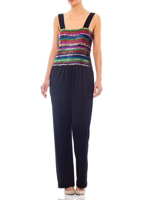 1970S Black Sequined Polyester Jersey Disco Party